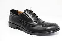 Мужские чёрные кожаные туфли на шнурке