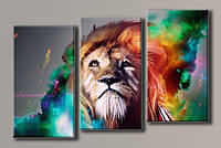 Картина модульная на холсте Пламенный лев
