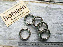 Кольцо карабин в цвете серебро, диаметр 25 мм