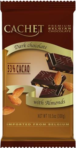 Шоколад Cachet 300г чёрный миндаль 54%