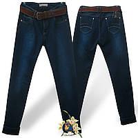 Джинсы женские на флисе Moon Girl синего цвета с ремнём 31 размер.