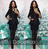 Женское платье баска с брошью ткань дайвинг цвет черный