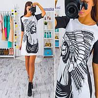 Платье трапеция с графическим рисунком трикотаж дайвинг SMb892