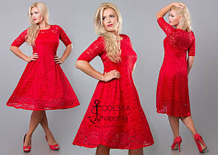 Женское гипюровое красное платья 8136