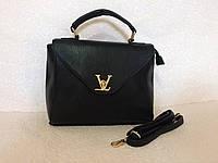 Женская черная сумка-портфель с ремешком