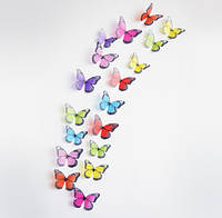 Бабочки 3D цветные с блёстками 3Д декор наклейки