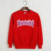 Свитшот Thrasher Flame красный с логотипом,унисекс (мужской,женский,детский)