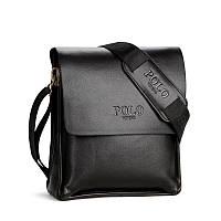 Сумка мужская Polo через плечо. Кожаная сумка Поло | Черная