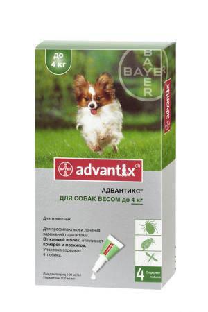 Адвантикс для собак до 4 кг (1 пип.х 0,4 мл) Bayer (Германия) средство против блох, клещей и комаров