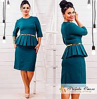 Платье женское с баской однотонное батал