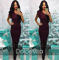 Модное красивое платье на одно плечо ткань дайвинг бордовое
