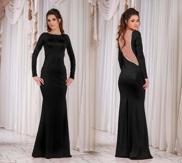 838e6c8fa2c0eb6 Элегантное длинное вечернее платье с открытой спиной