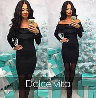 Модное красивое платье с воланами ткань дайвинг цвет черный