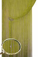 Шторы нити кисея однотонные блистер с бусинами оливка  НОВИНКА!