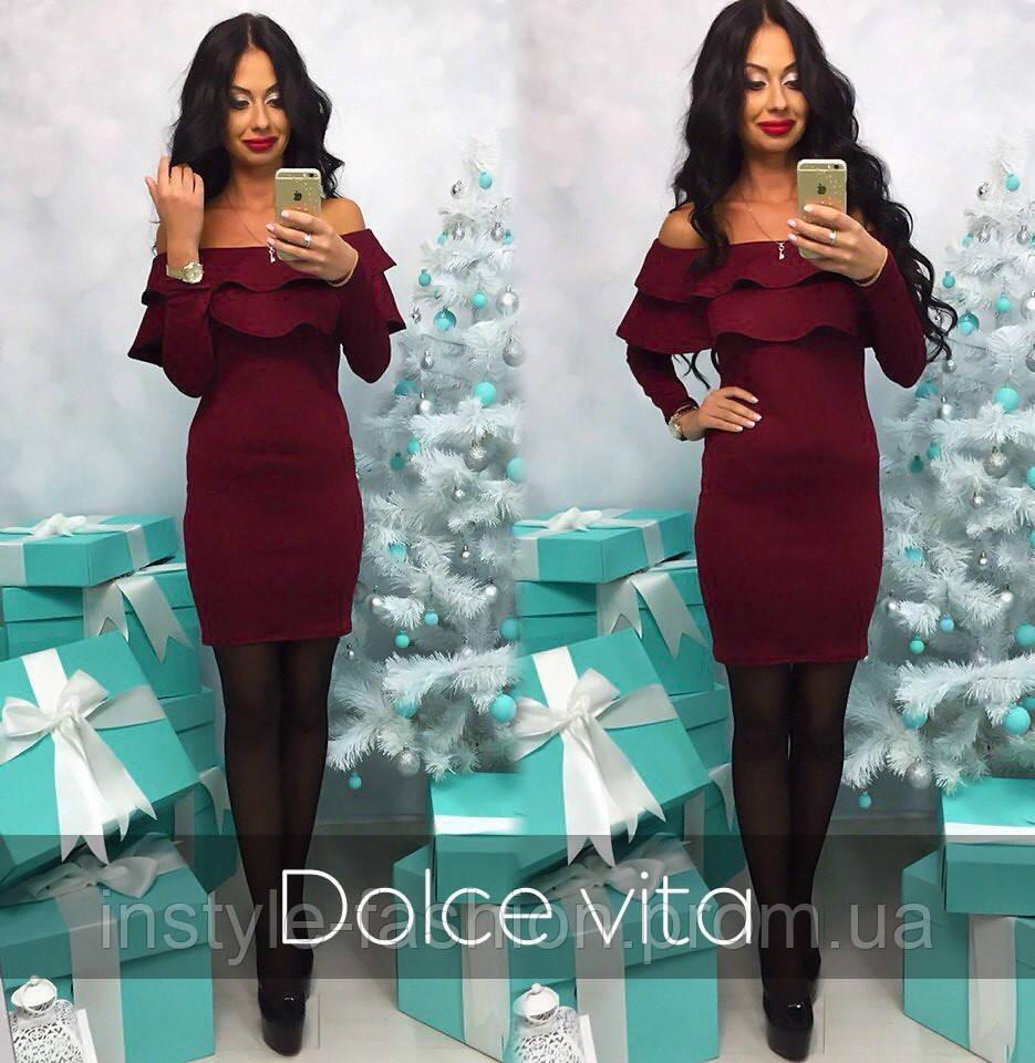 a3c232719e7 Модное красивое платье с воланами ткань дайвинг цвет бордовый ...