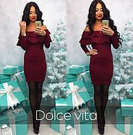 Модное красивое платье с воланами ткань дайвинг цвет бордовый