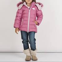 Куртка зимняя на девочку,розового цвета, в рукаве резинка, капюшон с мехом, подкладка и капюшон на флисе девоч