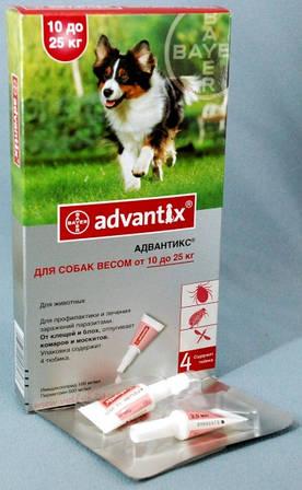 Адвантикс для собак 10 - 25 кг (1 пип.х 2,5 мл) Bayer (Германия) средство от блох, клещей и комаров.