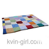 Одеяло клетка разноцветная,  бязь, холлофайбер 90х120см