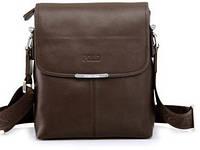 Сумка мужская Поло через плечо. Сумка Polo чоловіча. Кожаная сумка планшетка | Темно-коричневая
