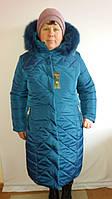 Женское зимнее пальто с натуральным мехом большого размера