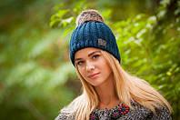 Женская вязанная шапка шерсть с акрилом.