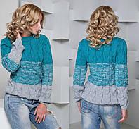 Теплый женский комбинированный свитер косичка