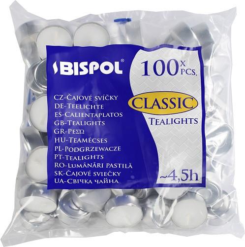 Свечи чайные Bispol Classic Tealights 1,5 см 100 шт (p15-100)