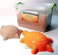Акционный набор: кинетический песок 2 кг, контейнер для хранения, пасочки