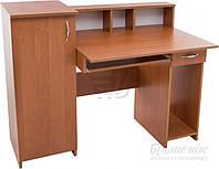 Компьютерный стол прямой с большой тумбой с полками