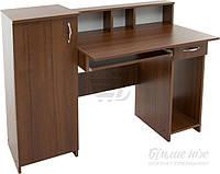Компьютерный стол прямой с большой тумбой с полками венге