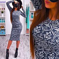Платье миди принт иероглифы, длинный рукав, ангора меланж