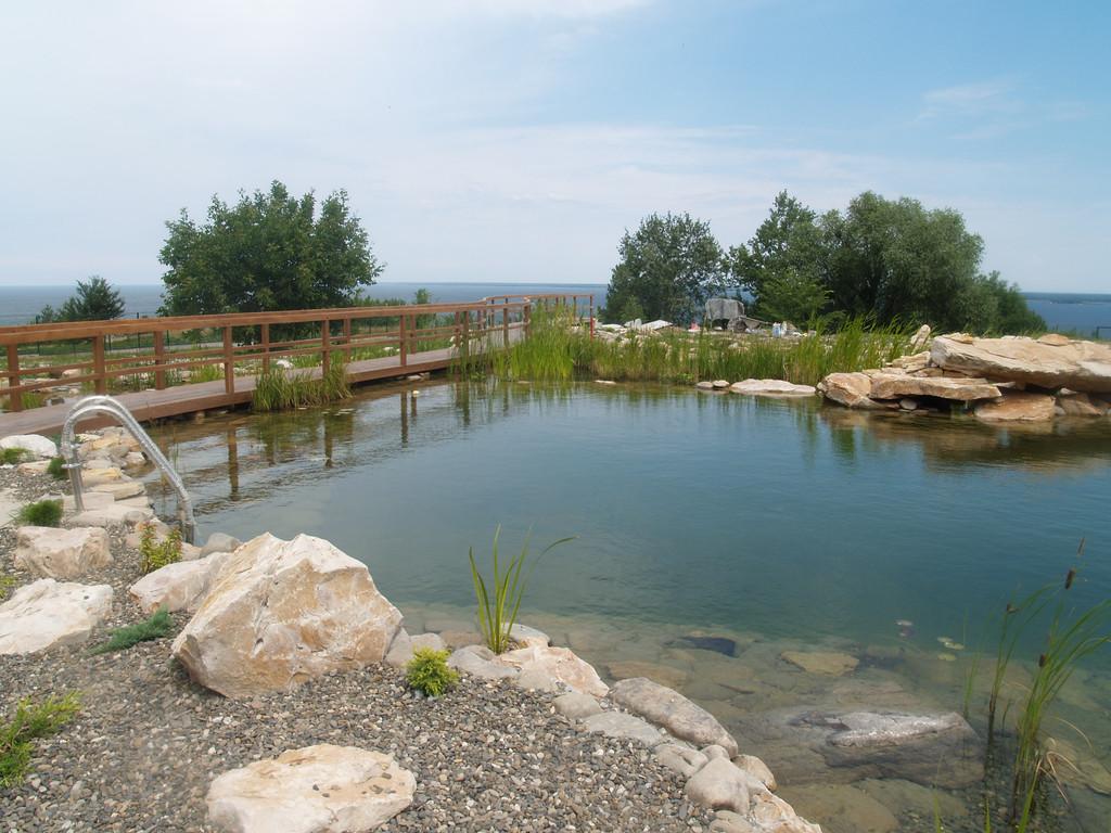Водопад не только украшает пруд, но и обогащает воду кислородом