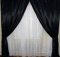Комплект готовых штор из атласа. Цвет черный 01ша