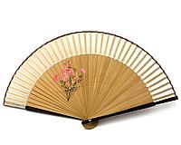 Веер деревянный с шелком Веточка сакуры