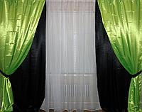 Комплект декоративных портьер, цвет черный с салатовым 002дш