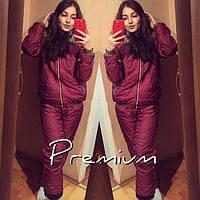 Спортивный костюм женский зимний Монклер Premium бордовый , спортивные костюмы