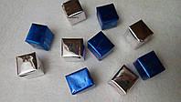 """Декор """"подарок"""" (длина грани 1,5-2 см) синие+серебристые"""