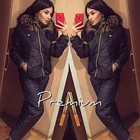 Спортивный костюм женский зимний Монклер Premium темно-синий , спортивные костюмы