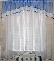 Гардина, арка на кухню, из шифона №36 Цвет голубой с белым.