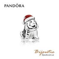 Pandora шарм РОЖДЕСТВЕНСКИЙ ЩЕНОК №791769EN39 серебро 925 Пандора оригинал