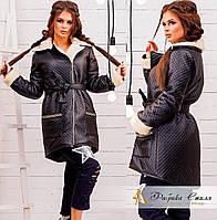 Асимметрическая кожаная  курточка с мехом