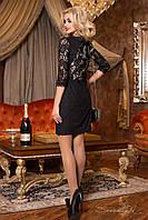 Женское замшевое платье с гипюровой спинкой + большой размер