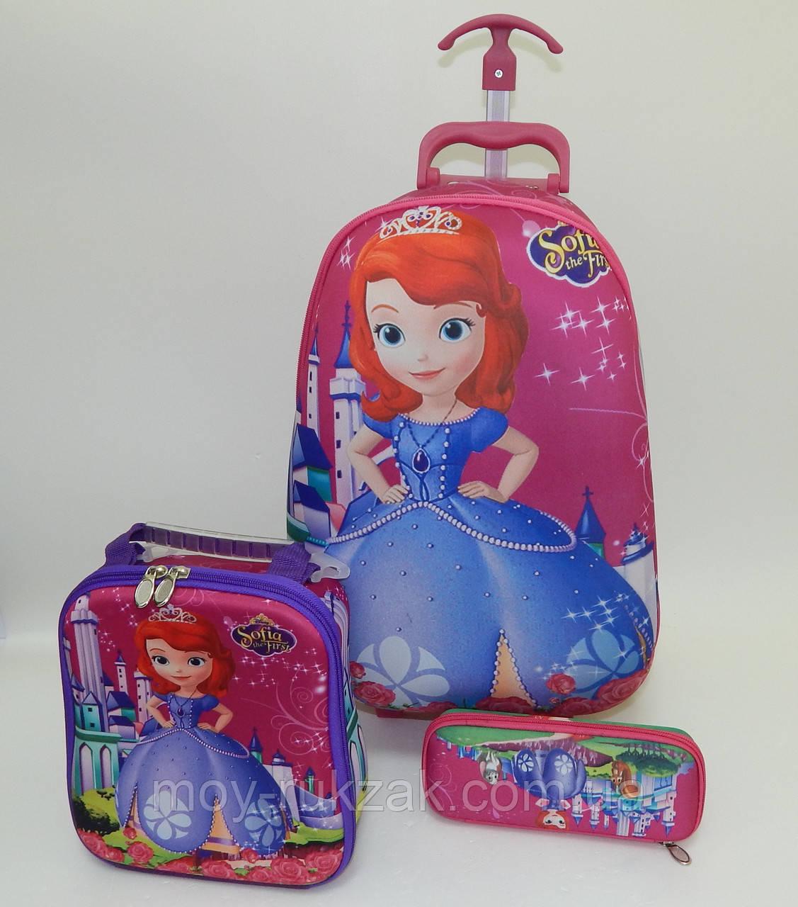 Набор детский чемодан на 6 колесах + сумка + пенал, София, Sofia the First