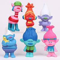 Набор игрушечных фигурок Тролли ( Trolls ), игрушки тролли, 6 шт