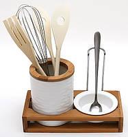 Набор на бамбуковой подставке: подставка для кухонных принадлежностей и подставка под ложку