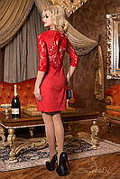 Женское замшевое красное платье с гипюровой спинкой