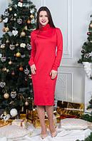 Яркое теплое женское платье красного цвета