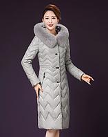 Женский стильный зимний пуховик. Натуральный мех лисы Модель 1000