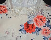 Белое нарядное платье цветочный принт 146, 152